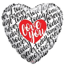 18 inch Kaleidoscope Love You Script Today Tomorrow Forever Foil Heart Balloon - flat