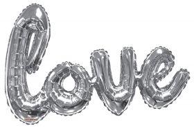 36 inch Kaleidoscope Silver Script Love Shape Foil Balloon - AIR FILL - Pkg