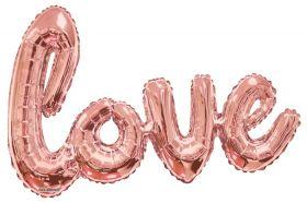36 inch Kaleidoscope Rose Gold Script Love Shape Foil Balloon - AIR FILL - Pkg