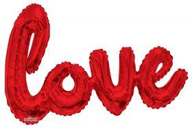 36 inch Kaleidoscope Red Script Love Shape Foil Balloon - AIR FILL - Pkg