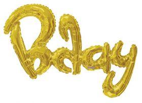 36 inch Gold Script Bday Shape Foil Letter Balloon - AIR FILL