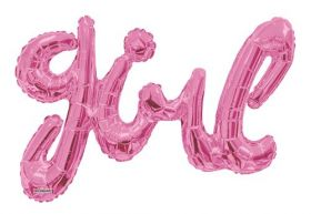 36 inch Baby Pink Script Girl Shape Foil Letter Balloon - AIR FILL