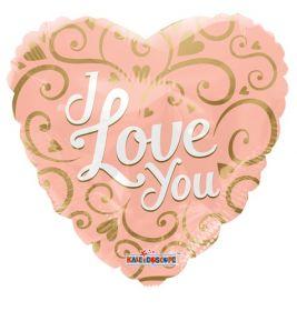 18 inch Kaleidoscope I Love You Script Rose Gold Foil Heart Balloon - flat