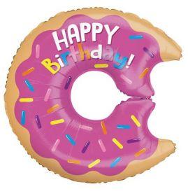 28 inch Happy Birthday Donut Shape Balloon - Packaged