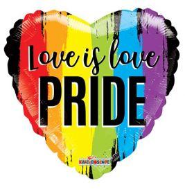 18 inch Love is Love PRIDE Rainbow Gellibean Heart Balloon
