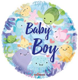 18 inch Baby Boy Under the Sea Circle Clearview Balloon
