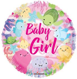 18 inch Baby Girl Under the Sea Circle Clearview Balloon