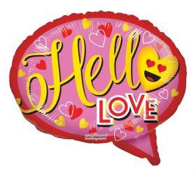 18 inch Kaleidoscope Hello Love Thought Bubble Foil Balloon - flat