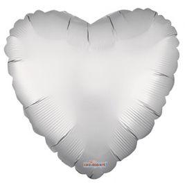 18 inch Matte Silver Heart Foil Balloons - flat