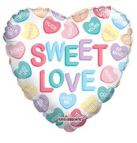 18 inch Sweet Love Conversation Hearts Gellibean Heart Balloon - flat