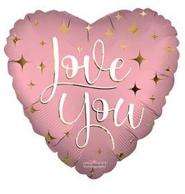 18 inch Love You Sparkles Matte Foil Mylar Heart Balloon - flat