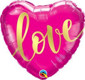 18 inch Qualatex Love Gold Script Heart Foil Balloon - flat