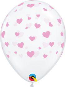 11 inch Qualatex Random Hearts Around Clear Latex Balloons - 50 count