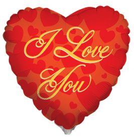 18 inch Kaleidoscope I Love You Script Red Foil Heart Balloon - flat