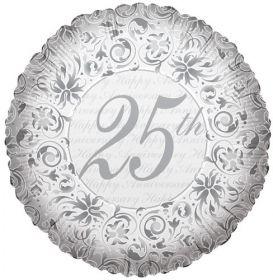 18 inch Foil Mylar Circle Happy 25th Anniversary Balloon