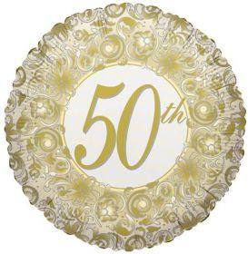 18 inch Foil Mylar Circle Happy 50th Anniversary Balloon