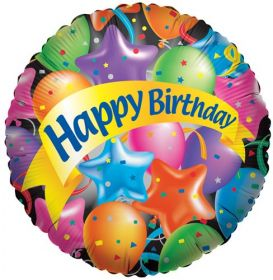 18 inch Festive Balloons Birthday Circle Balloon - Flat