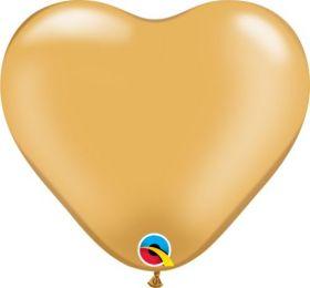 6 inch Qualatex Gold Heart Shape Latex Balloons - 100 count