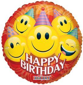 18 inch Party Happy Face Birthday Circle Balloon - Flat