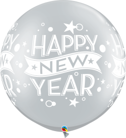 Qualatex Happy New Year Confetti Dots Silver 30 inch Latex Balloons - 2 pack