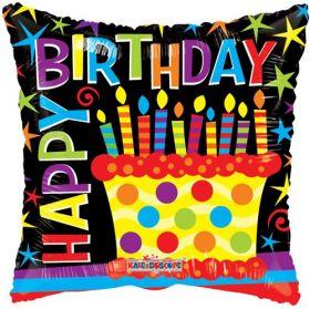 18 inch Foil Mylar Birthday Cake Gellibean Circle Balloon - Flat