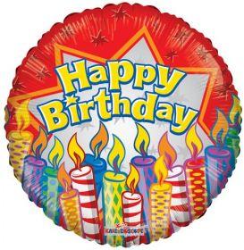 18 inch Birthday Candles Circle Balloon - Flat