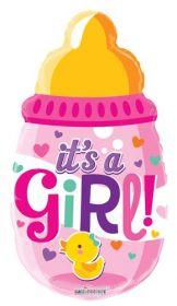 20 inch It's a Girl Baby Bottle Shape Foil Mylar Balloon