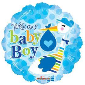 18 inch Welcome Baby Boy Stork Circle Foil Mylar Balloon