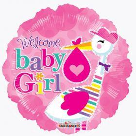18 inch Welcome Baby Girl Stork Circle Foil Mylar Balloon