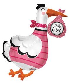 36 inch Baby Girl Stork Shape Foil Mylar Balloon