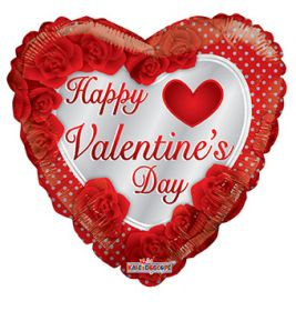 18 inch Happy Valentines Day Heart with Roses and Dots Foil Balloon - flat