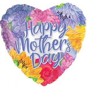 18 inch CTI Happy Mothers Day Lavender Font Heart Foil Balloon - flat