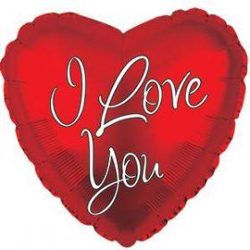 18 inch CTI I Love You Inspired Script Foil Heart Balloon - flat