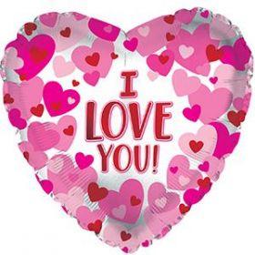 18 inch CTI I Love You Hearts on Pearl Foil Heart Balloon - flat