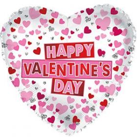 """18"""" Happy Valentines Day Red & Pink Hearts Foil Balloon - flat"""