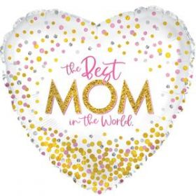 18 inch CTI Confetti Best Mom Foil Heart Balloon - Flat
