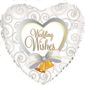 18 inch Foil Mylar Heart Wedding Wishes Bells Balloon
