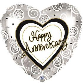 18 inch Foil Mylar Heart Happy Anniversary Swirls Silver Balloon