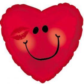 18 inch CTI Smiley Face Kissy Foil Mylar Heart Balloon - flat