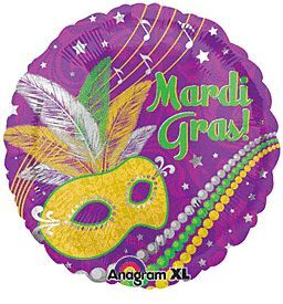 18 inch Anagram Festive Mardi Gras Foil Balloon - Flat