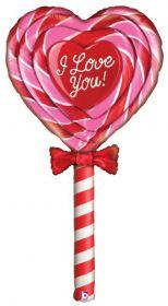5 foot Betallic Love Lollipop Shape Foil Balloon - Pkg