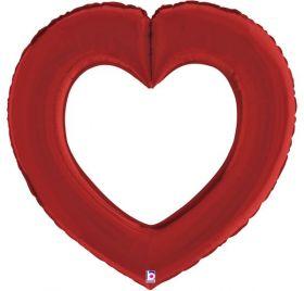 41 inch Betallic Red Linking Heart Foil Balloon - Pkg
