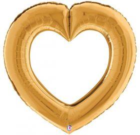 41 inch Betallic Gold Linking Heart Foil Balloon - Pkg