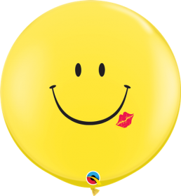 Qualatex Smile and a Kiss 36 inch Yellow Latex Balloons - 2 count