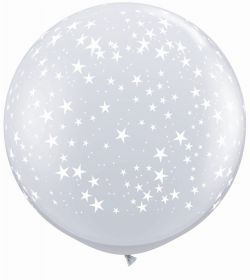 Qualatex Stars Around Diamond Clear 36 inch Latex Balloons - 2 count