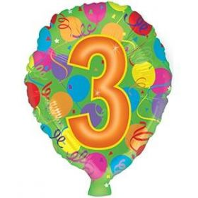 18 inch Foiltex Latex Shape Foil #3 Birthday Balloon - Flat