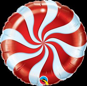 Qualatex 18 inch Foil Mylar Red Candy Swirl Round Balloon