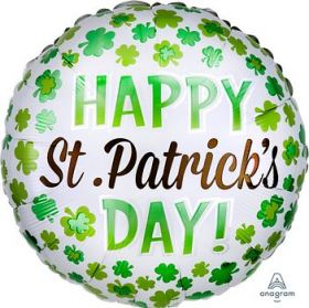 18 inch Anagram St. Patrick's Day Shamrock Foil Balloon - Flat