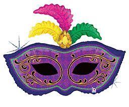 34 inch Betallic Mardi Gras Feather Mask Shape Foil Balloon - Flat