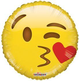 18 inch Kaleidoscope Smiley Kiss Emoticon Foil Circle Balloon - flat